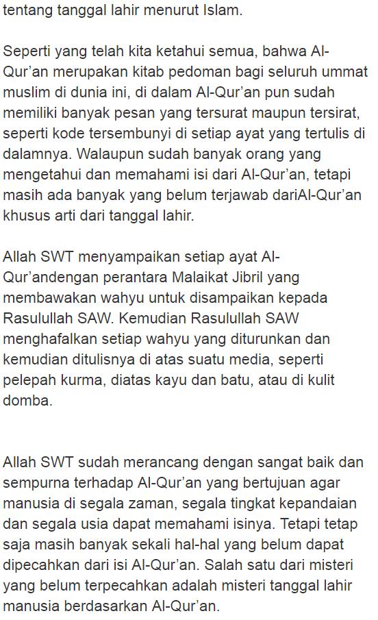 Taukah8inza Subhanallah Arti Tanggal Lahir Dan Karakter Menurut Islam Berdasarkan Urutan Surah Dalam Al Qur An