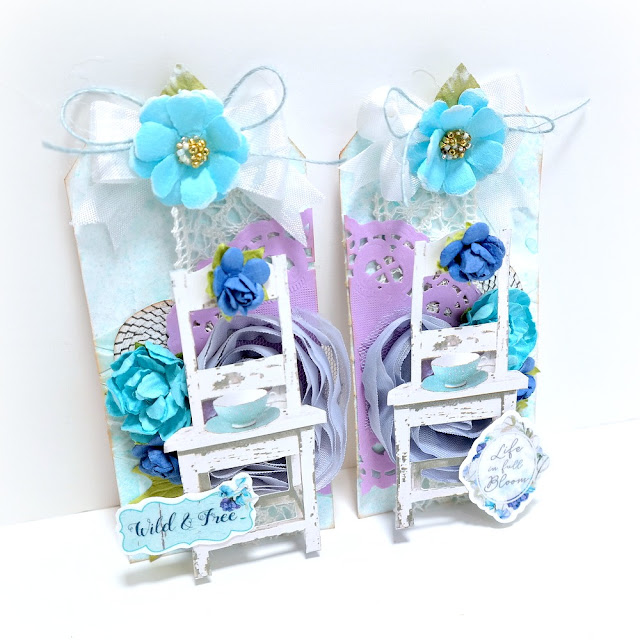 Life is Beautiful Mixed Media Tag Set with Blue Flowers by Dana Tatar for FabScraps