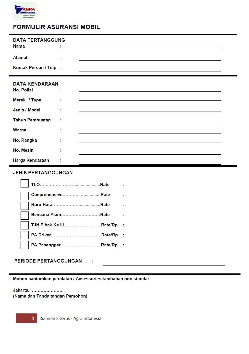 Contoh Form Pengajuan Service Kendaraan Contoh Resource