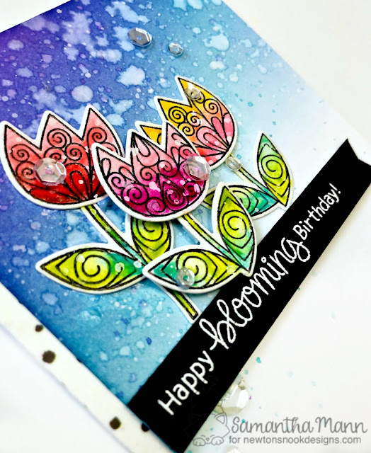 Happy Blooming Birthday Card by Samantha Mann, Newton's Nook Designs, tulips, spring, flowers, watercolor, #watercolor, #tulips, #newtonsnook