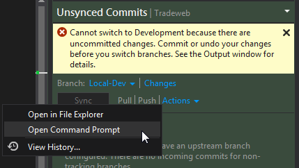 Moving your changes to a new branch in Git with Visual
