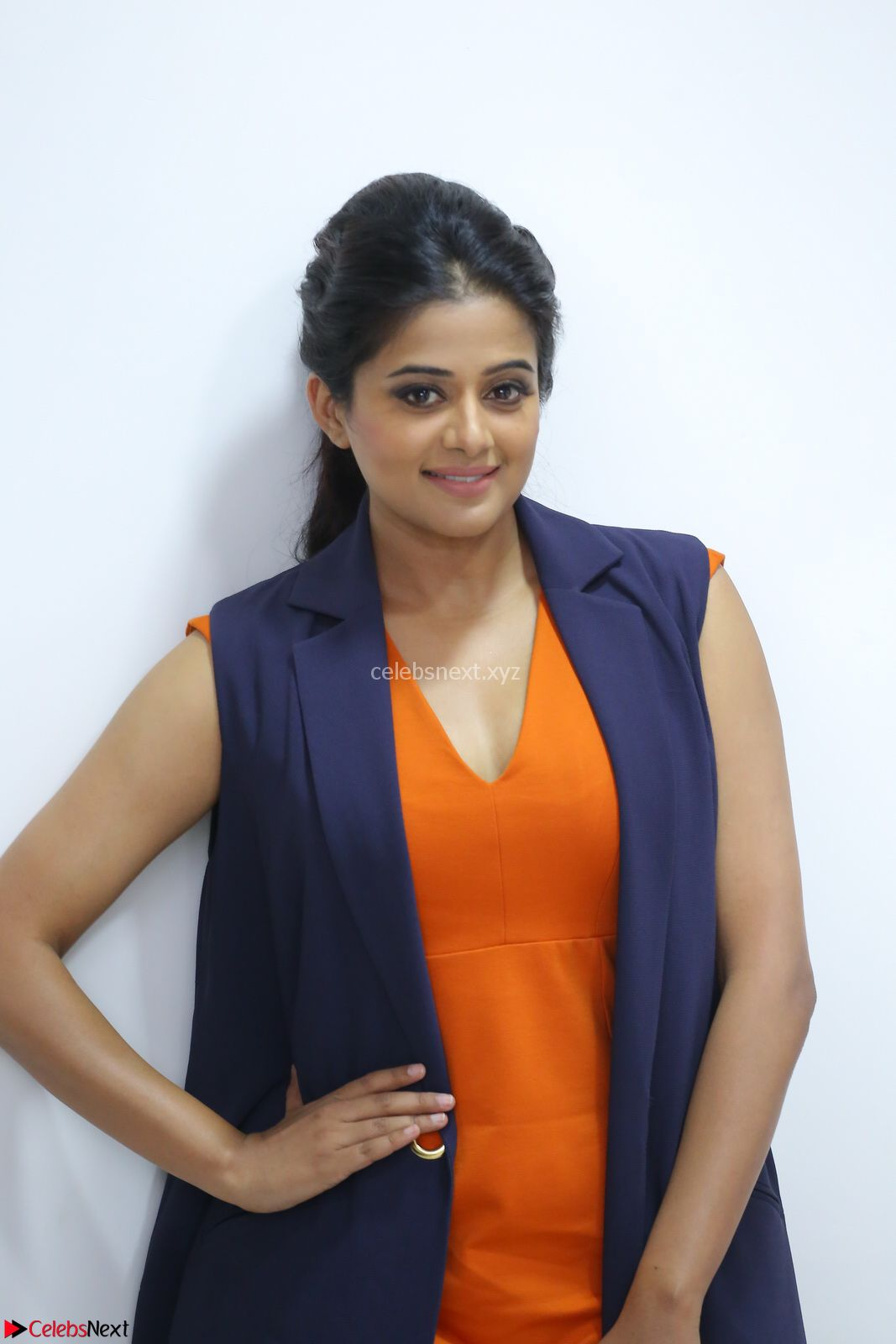 Priyamani in Beautiful Short Deep neck Orange Dress ~ CelebsNext Exclusive