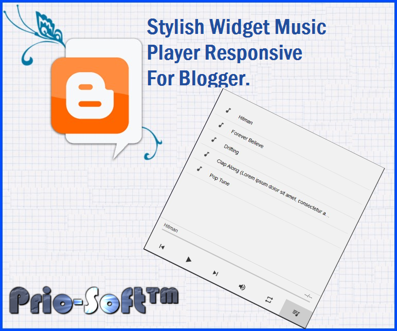 Stylish Widget Music Player Responsive For Blogger  | Prio-Soft™