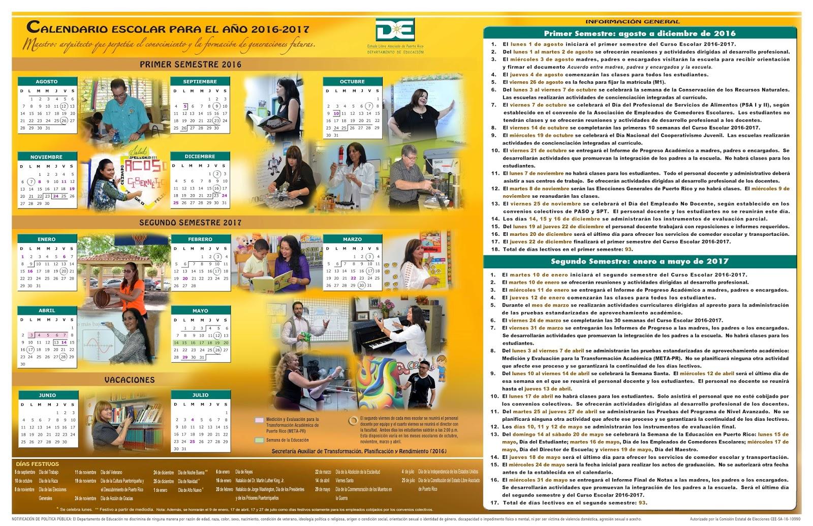 Calendario Escolar 2017 18 Puerto Rico 1