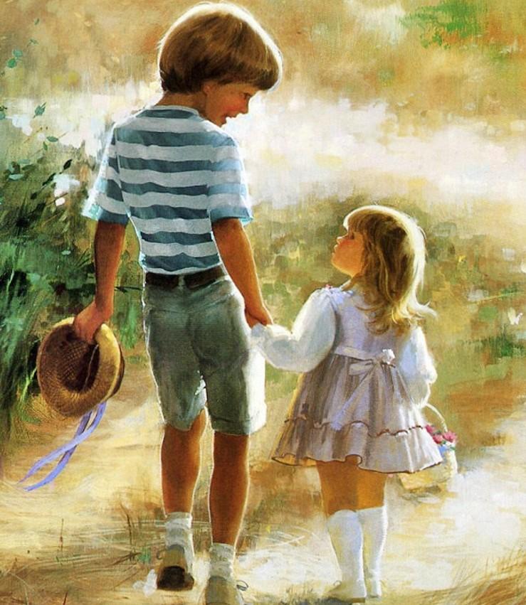 Для, картинка сестра и брат