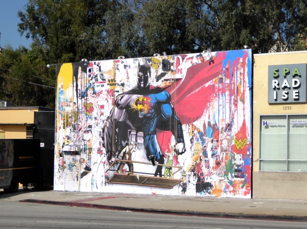 Batman v Superman movie wall mural