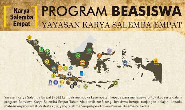 TELAH DIBUKA PROGRAM BEASISWA REGULER KARYA SALEMBA EMPAT (KSE) TAHUN AKADEMIK 2018/2019 UNTUK   MAHASISWA S1 MINIMAL SEMESTER 2