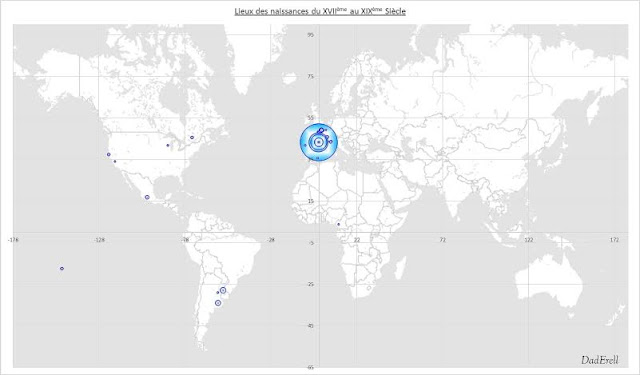 Carte des lieux de naissance 17ème au 20ème siècle