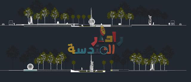 حديقة ساحة الحضرية dwg
