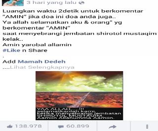 Modus Dibalik Katakan Amiin atau Like di Facebook