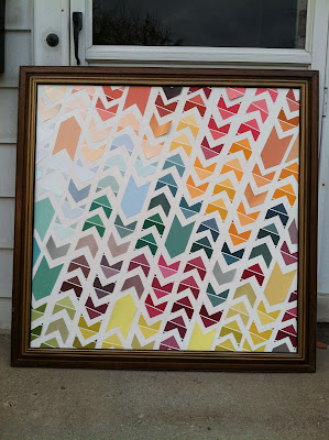 DIY Wall Decor Chevron Design Paint Chips Colorful Wall Art
