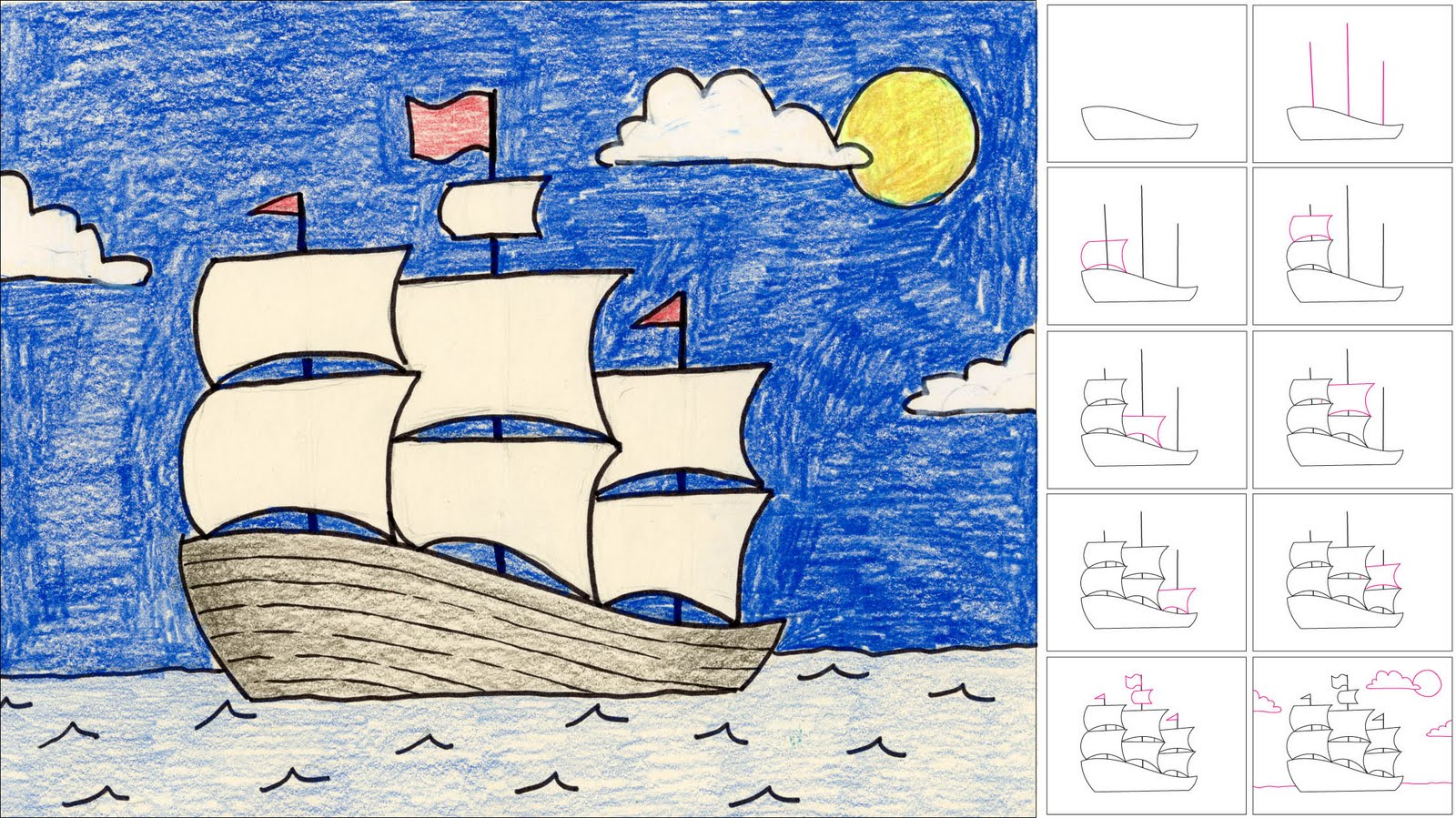 How To Draw A Sailing Ship Art Projects For Kids
