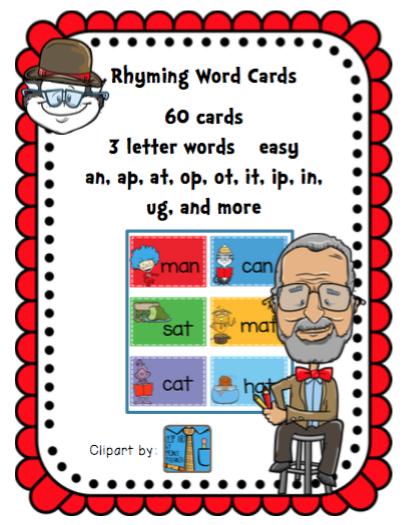 dr seuss theme rhyming cards 3 letter words preschool printables. Black Bedroom Furniture Sets. Home Design Ideas