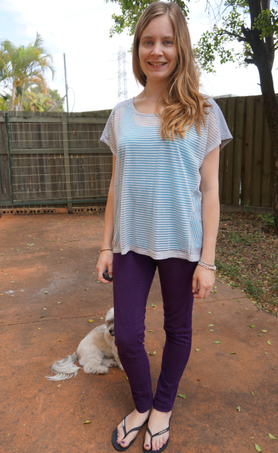 Blue and Purple Sheer Stripe Tee layered tank skinny jeans Spring outfit