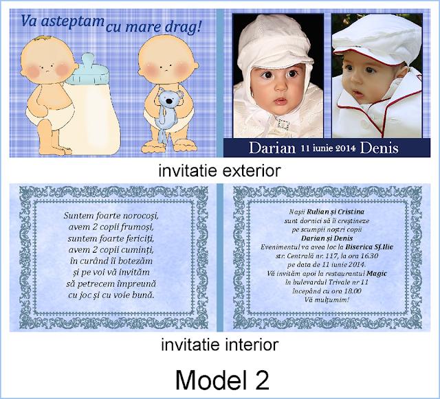 invitatii botez gemeni carte postala duble