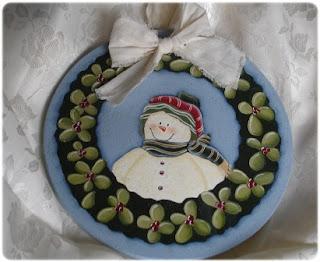 Targa natalizia con pupazzo di neve