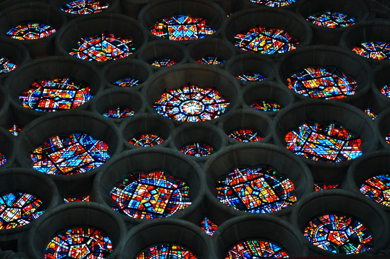Close-up of the stained glass rosette, St. Albans Cathedral, St. Albans, Herts, England