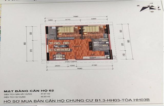 Sơ đồ thiết kế căn hộ 02 chung cư B1.3 HH03B Thanh Hà Cienco 5
