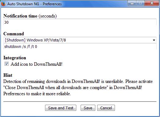 Auto Shutdown NG addon Firefox finestra delle impostazioni