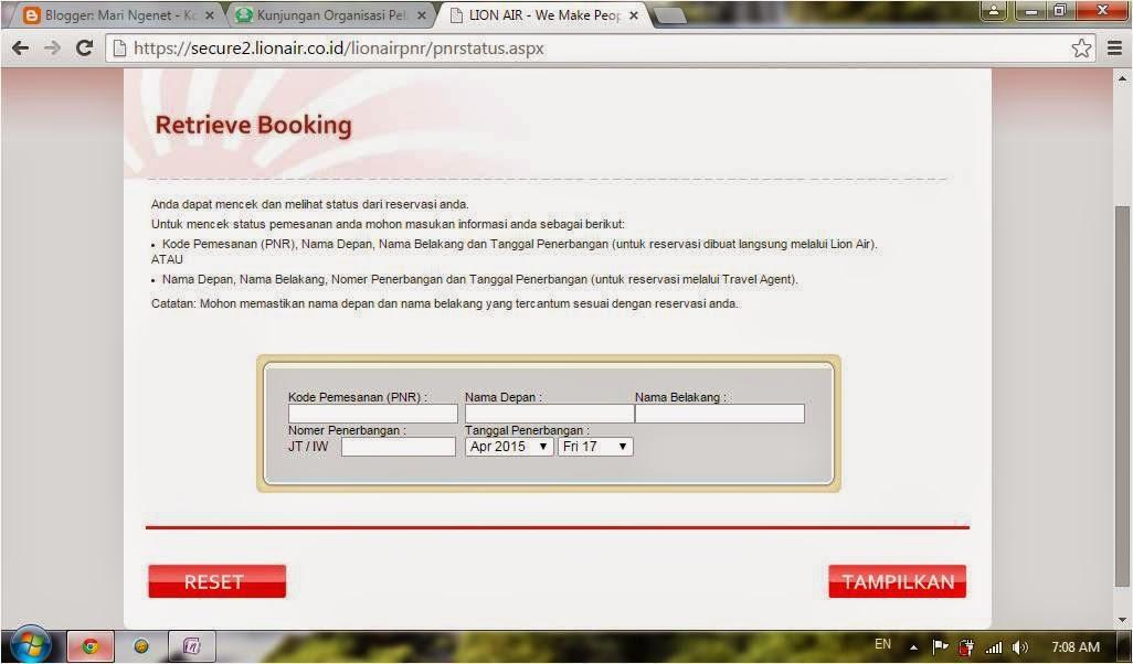 Cara Cek Status Pemesanan Tiket Pesawat Lion Air