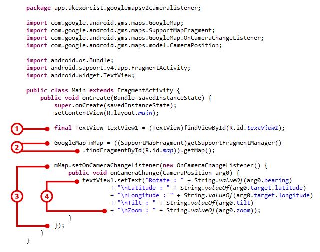Android Code] การใช้ Listener กับ Camera ใน Google Maps