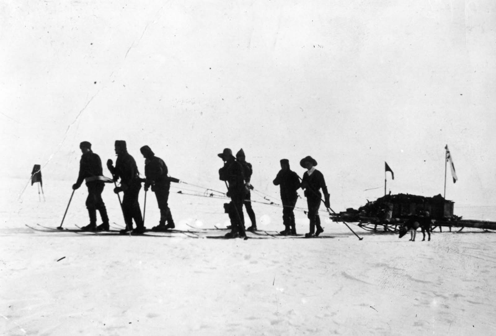 Capt. Scott leads a sledging party on a bid to reach the South Pole before Amundsen. January 1912.