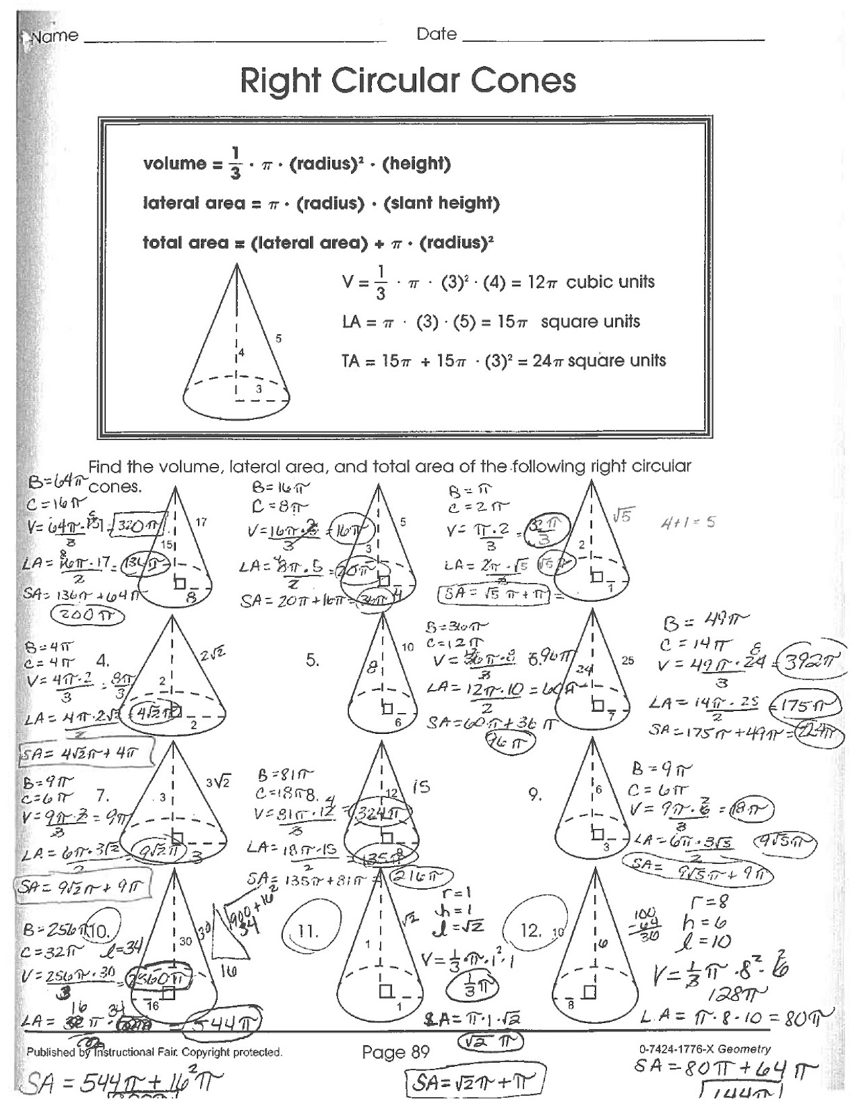 Math Classes Spring Geometry Cones Worksheet