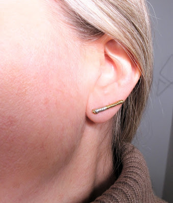 Gold ear climber earrings, wire earrings design