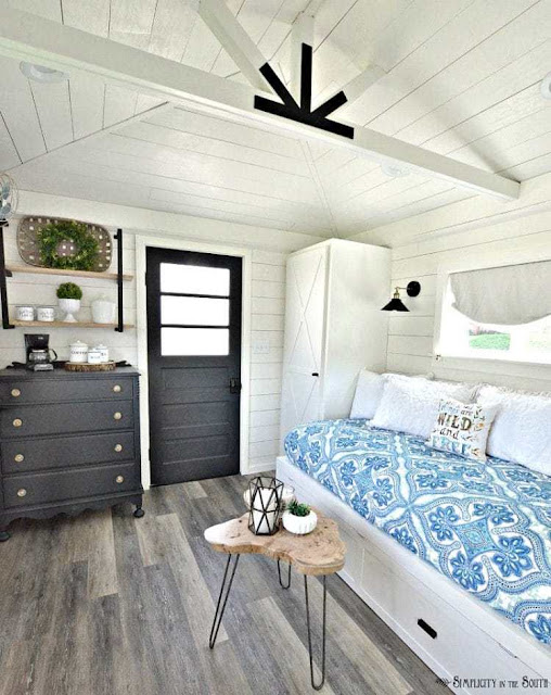 Farmhouse Cottage Guest Room Shed Reveal featured at Talk of the Town