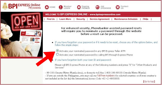 BPIExpressOnline password retrieval page