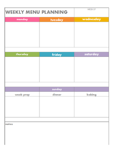 Color coded weekly menu planning page