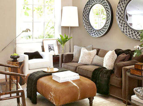 putting a large plant behind the chair defines it and also softens the space - Sofa Ideas For Small Living Rooms