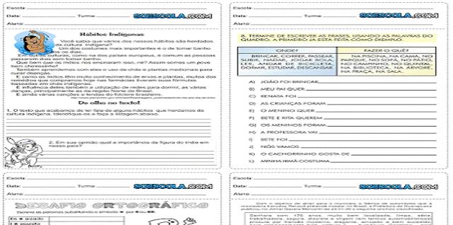 Atividades de português 5° ano para imprimir