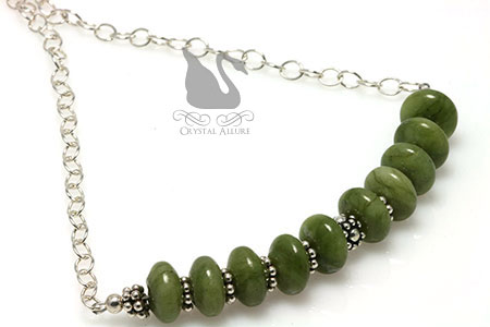 Nephrite Jade Gemstone Beaded Necklace (N049)
