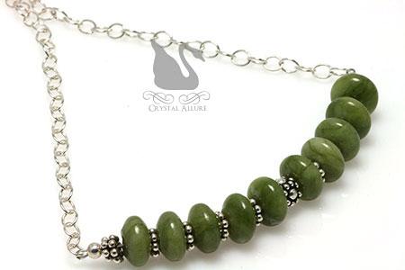 Nephrite Jade Gemstone Beaded Necklace (N049)
