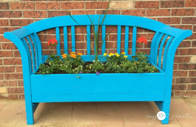 Bench Repurposed into a Planter, MyLove2Create