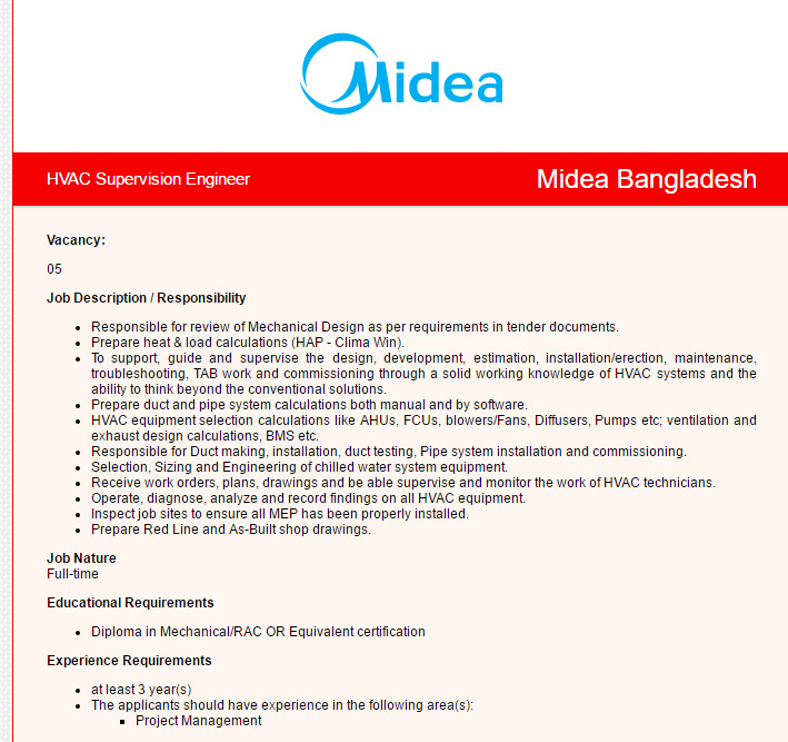 Midea Bangladesh - Position: HVAC Supervision Engineer | VACANCY