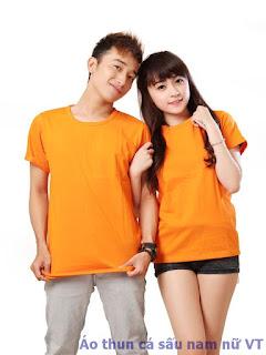 Áo thun trơn nam nữ cổ tròn màu cam