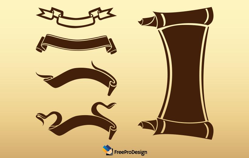 ribbon vector, vintage ribbon