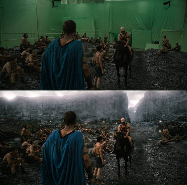 60 Iconic Behind-The-Scenes Pictures Of Actors That Underline The Difference Between Movies And Reality - 300 Rise Of An Empire and rise of the mountains.