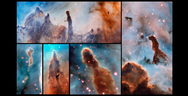 These composite image shows several pillars within the Carina Nebula which were observed and studied with the MUSE instrument, mounted on ESO's Very Large Telescope. The massive stars within the star formation region slowly destroy the pillars of dust and gas from which they are born. Credit: ESO/A. McLeod