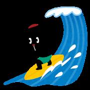 サーフィンをするウサギ