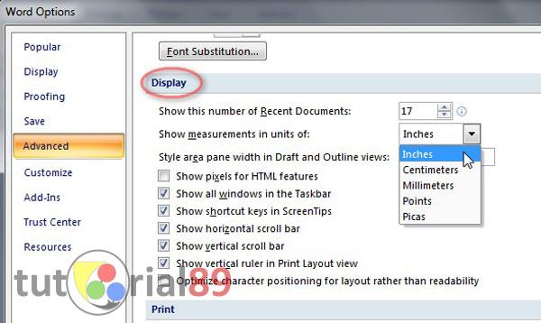 Cara mudah merubah inch ke cm pada ruler Microsoft word
