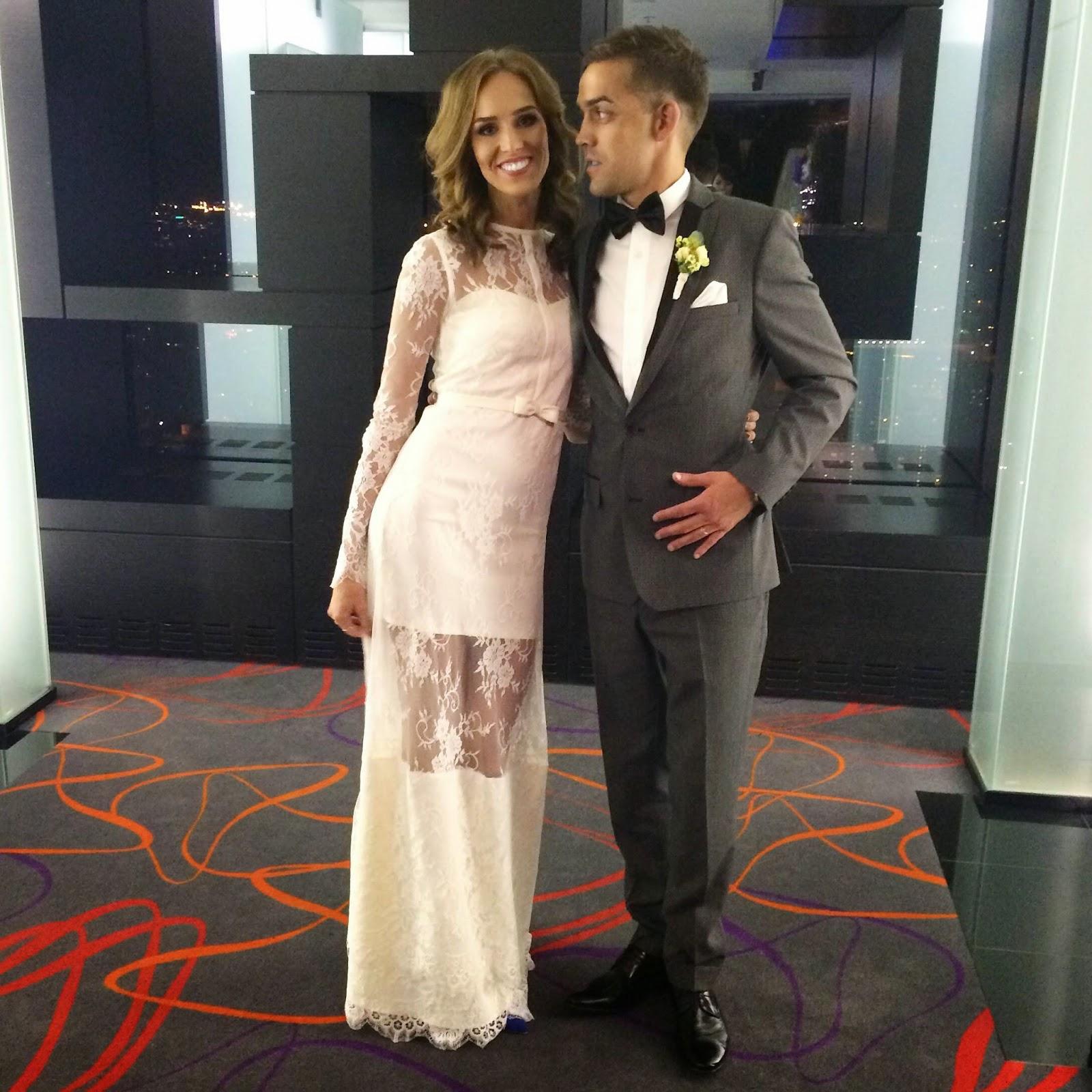 wedding-bride-groom-white-lace-dress-gray-suit-black-bowtie