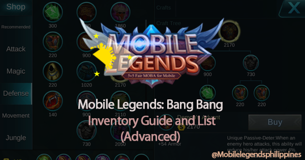 Mobile Legends Advanced Inventory (Crafts) Guide and List