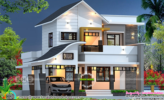 2100 sq-ft 4 bedroom mixed roof house plan