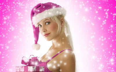 Christmas-girls-wallpapers--with-pink-hat-pink background-wallpaper