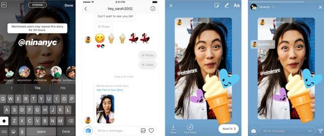Instagram mengumumkan bahwa mulai hari Kamis Instagram Rilis Fitur @Mention Sharing ke Foto dan Video di Instagram Stories