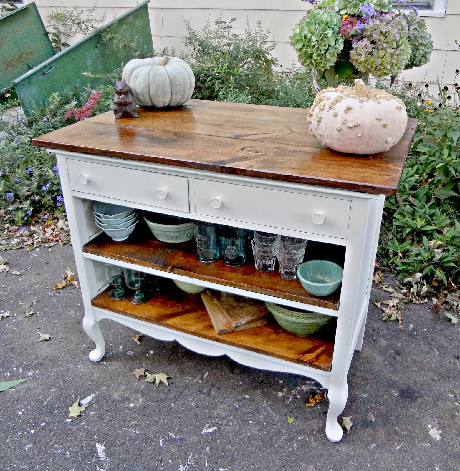 Repurposed Antique Dresser As A Kitchen Island With A: Heir And Space: Antique Dresser Turned Kitchen Island