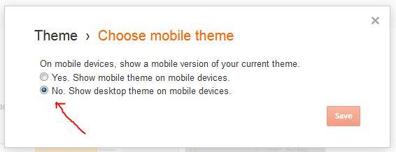 nonaktifkan tempalate mobile bawaan blogger